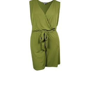 NY Collection Women's Belted Surplice Romper